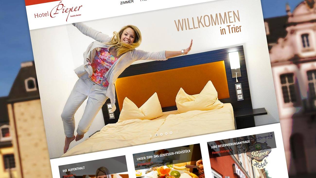 Neues webdesign und fotos f r hotel pieper in trier for Designhotel trier
