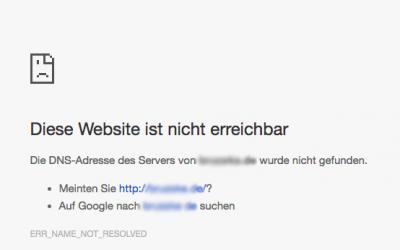 Fehlermeldung: Diese Website ist nicht erreichbar